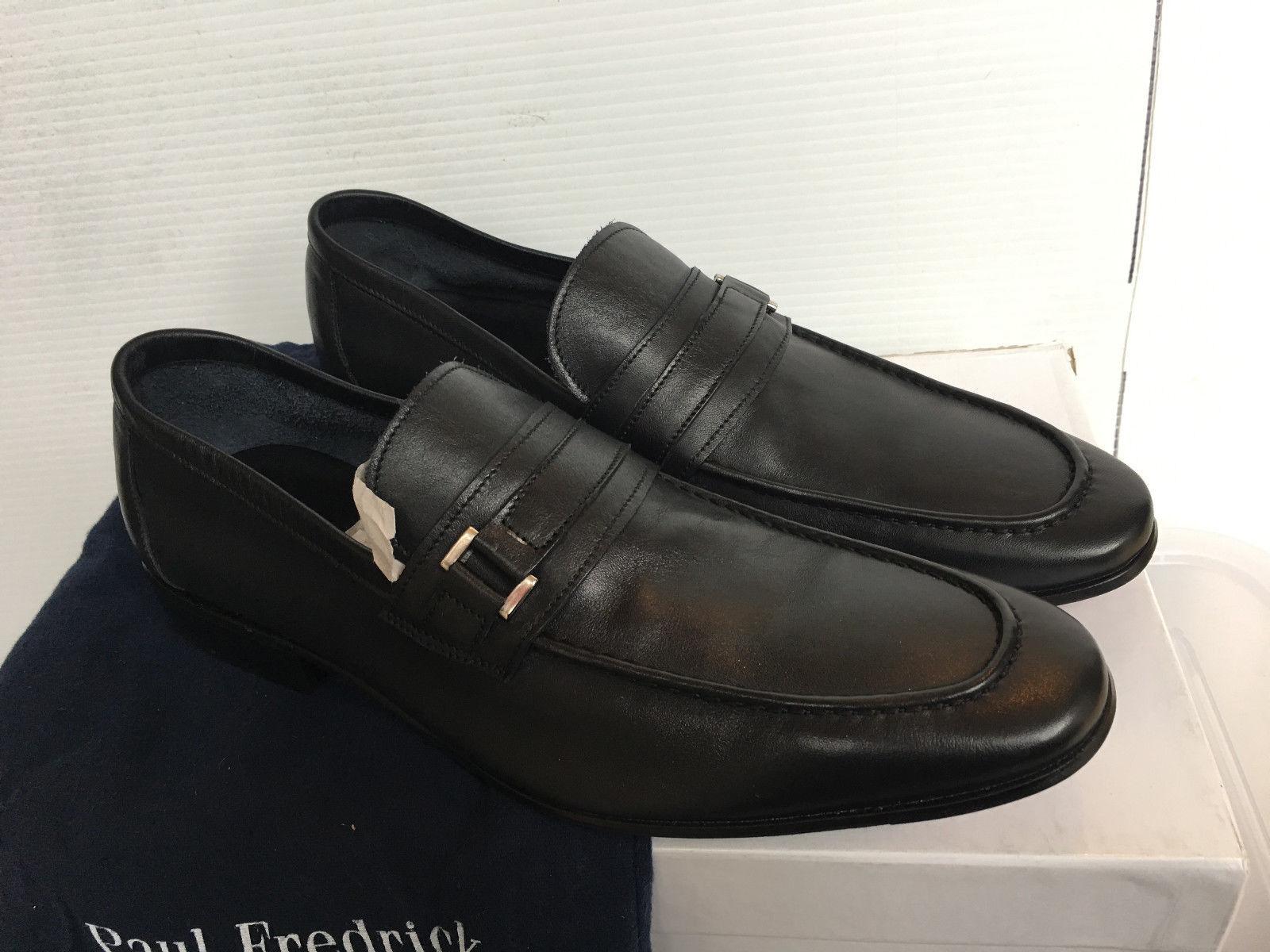 Paul Frederick FPE109D Leather Belted Loafer Vero Cuoio Size 9.5 Navy Scarpe classiche da uomo