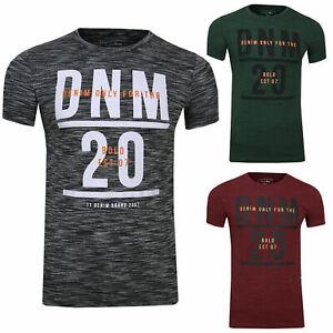 TOM TAILOR Denim Herren Sommer T-Shirt Meliert Mit Brust Print Aufdruck 1014128