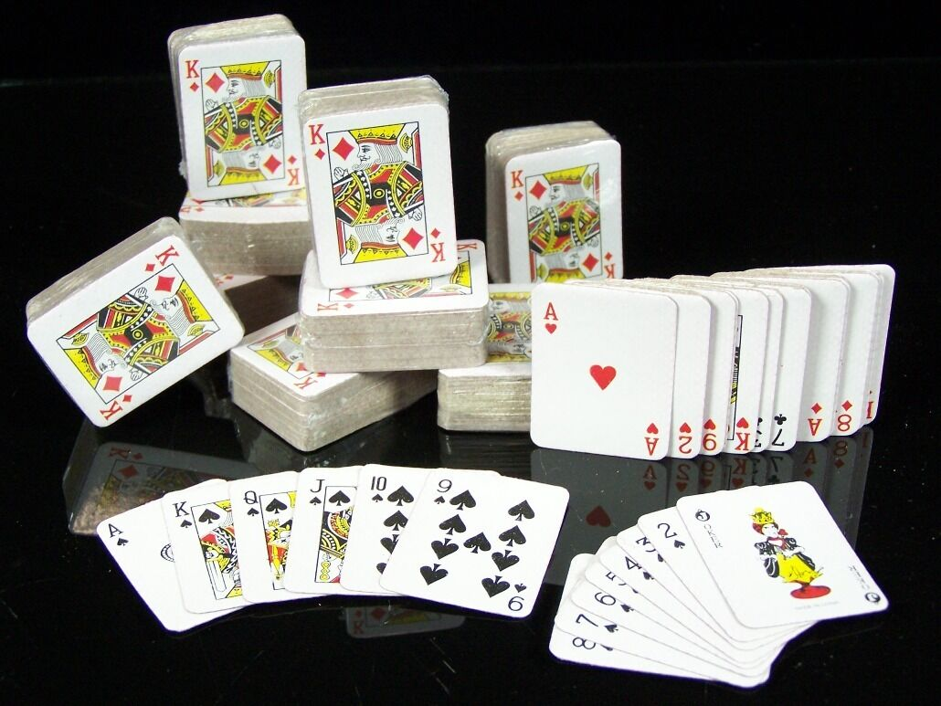 10x 54 Mini Spielkarten POKER-Karten Kartenspiel Joker Romee Skat Blatt