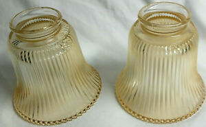 Set-of-2-Vintage-Amber-Ribbed-Glass-Light-Lamp-Shades-Beaded-Rims-2-1-4-034-Fitter