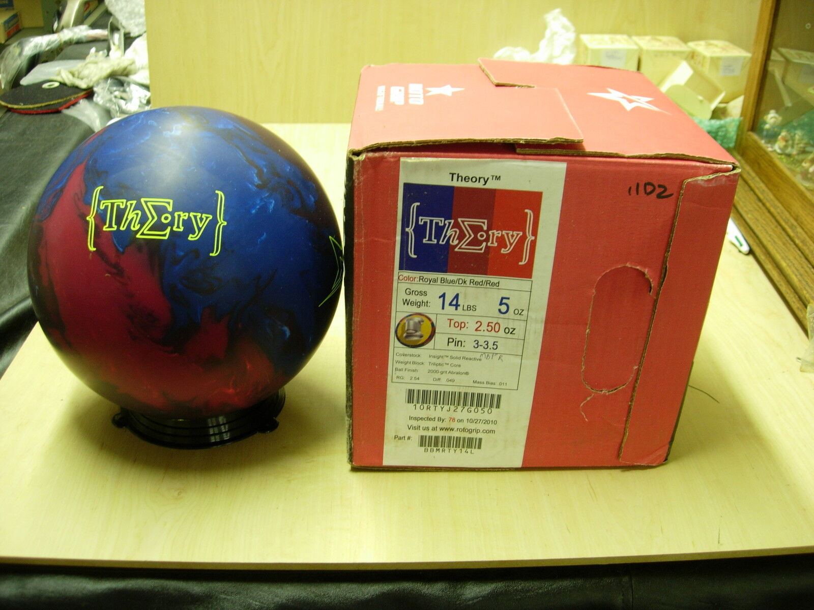 = 14NIB redo Grip THEORY Bowling Ball 14 lb 5 oz TW 2.50 Pin 3-3.5