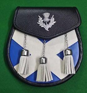 Kilt Écossais Escarcelle Saltire / Cuir Sporrans Chardon Crête Badge