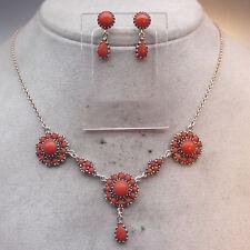 Rara vez hermosa! joyas-set corales-Collier aretes cadena, coral, Coral