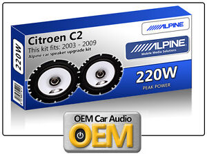 "Citroen C2 Front Door speakers Alpine 17cm 6.5"" car speaker kit 220W Max"