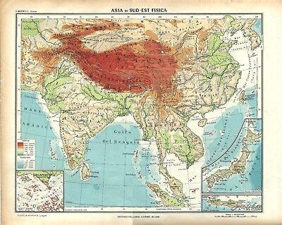 Cartina Geografica Sicilia Sud Orientale.Carta Geografica Antica Asia India Indocina Cina Giappone 1939 Old Antique Map Ebay