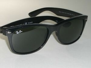 19e3a38e3e435 RAY BAN RB2132 901 58 55  18mm SLEEK SHINY BLACK G15 GLASS WAYFARERS ...