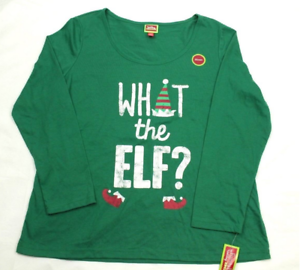 Family PJs Men's Green What The Elf Long Sleeve Holiday Pajama Shirt, Lg