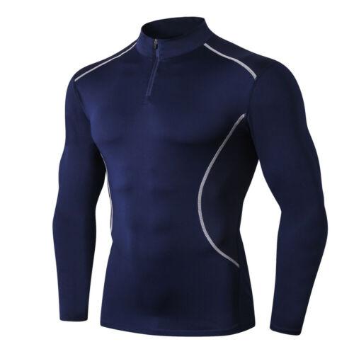 Mens Compression 1//4 Fermeture Éclair Col Couche De Base peau Fitness T-shirt homme à manches longues