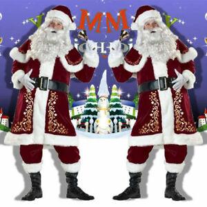 Santa Claus Mens Deluxe Father Christmas Fancy Dress Costume M,L