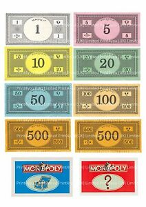 Monopoly Board Game Money Notes And Cards Cake Topper