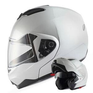 1STorm-DOT-Motorcycle-Modular-Flip-up-Full-Face-Helmet-Sun-Visor-Glossy-Silver