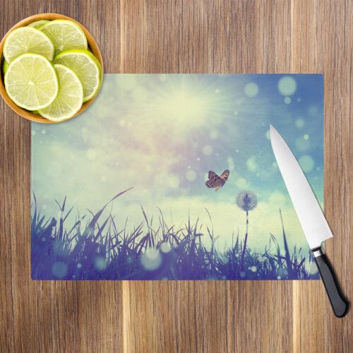 Blue Butterfly Dandelion Glass Chopping Board Kitchen Worktop Saver Protector