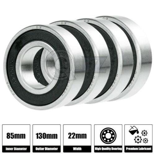 4x 6017-2RS Ball Bearing 85mm x 130mm x 22mm Rubber Seal Premium RS 2RS NEW