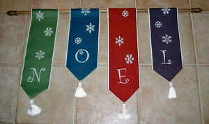 NOEL ~ N*O*E*L Christmas Tapestry Wall Hanging Bellpull Set
