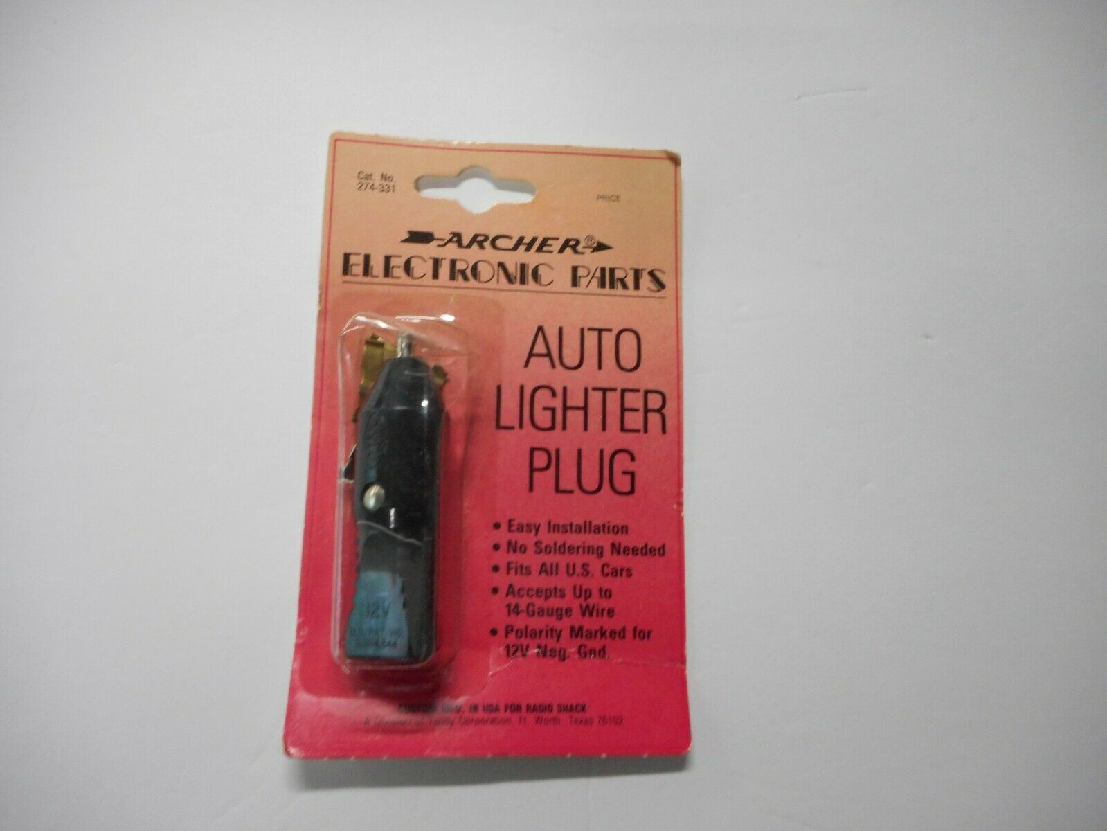 Archer Lighter Plug 274-331  **NOS**