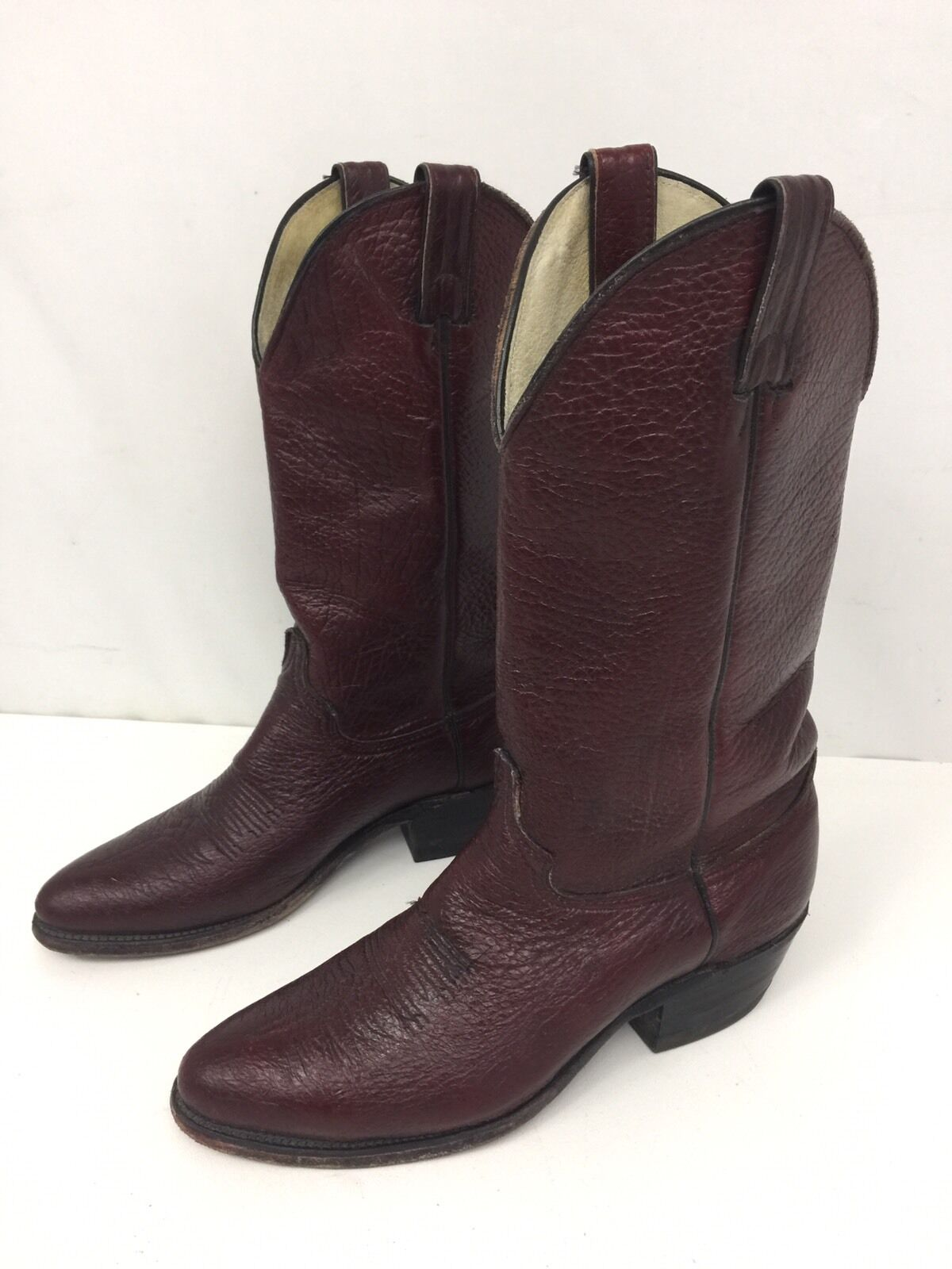 Men's Abilene Burgundy Leather Cowboy Boots Size 8 D  In Excellent Condition USA