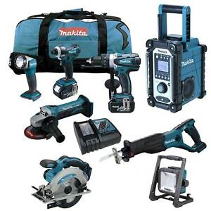 12tlg-MAKITA-18V-Profi-Akku-Werkzeug-Set-DML805-Akku-Baustrahler-DEADML-RMJ-Z