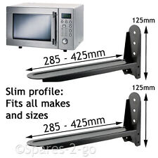 2 UNIVERSAL Black Microwave Wall Mount Stand Brackets Extendable Adjustable Arm