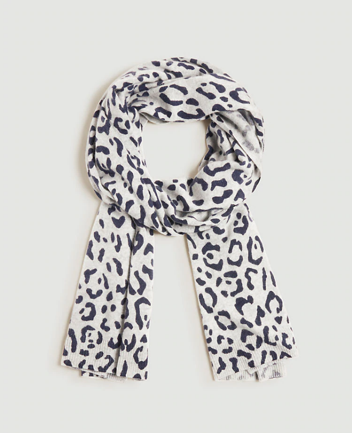 Ann Taylor Leopard Print Cashmere Hat and Scarf Set, Light Gray, One Size, NWT