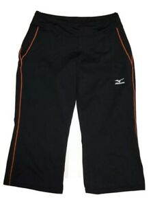 MIZUNO-Womens-Medium-Athletic-Running-Stretch-Pull-On-Capri-Pants-Black-Orange