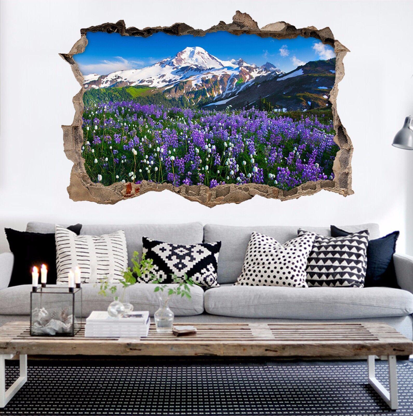 3D Lavender Berg 74 Mauer Murals Mauer Aufklebe Decal Durchbruch AJ WALLPAPER DE