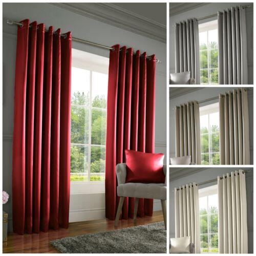 Ring Top Curtains Pair Elegant Sateen Shine Interlined Thermal Eyelet