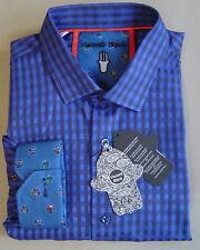 LUCHIANO VISCONTI BLACK Men/'s Long Sleeve Blue//Black Plaid// Check Shirt #3708