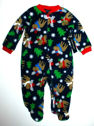 Schlafanzug USA Gr.44 Frühchen Nachtwäsche Winter Füßen Fleece Elch weich warm