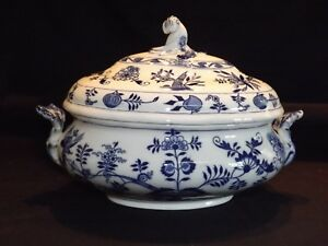 Brown Westhead & Moore England Meissen Blue Onion Soup Tureen Flow Blue Repaired