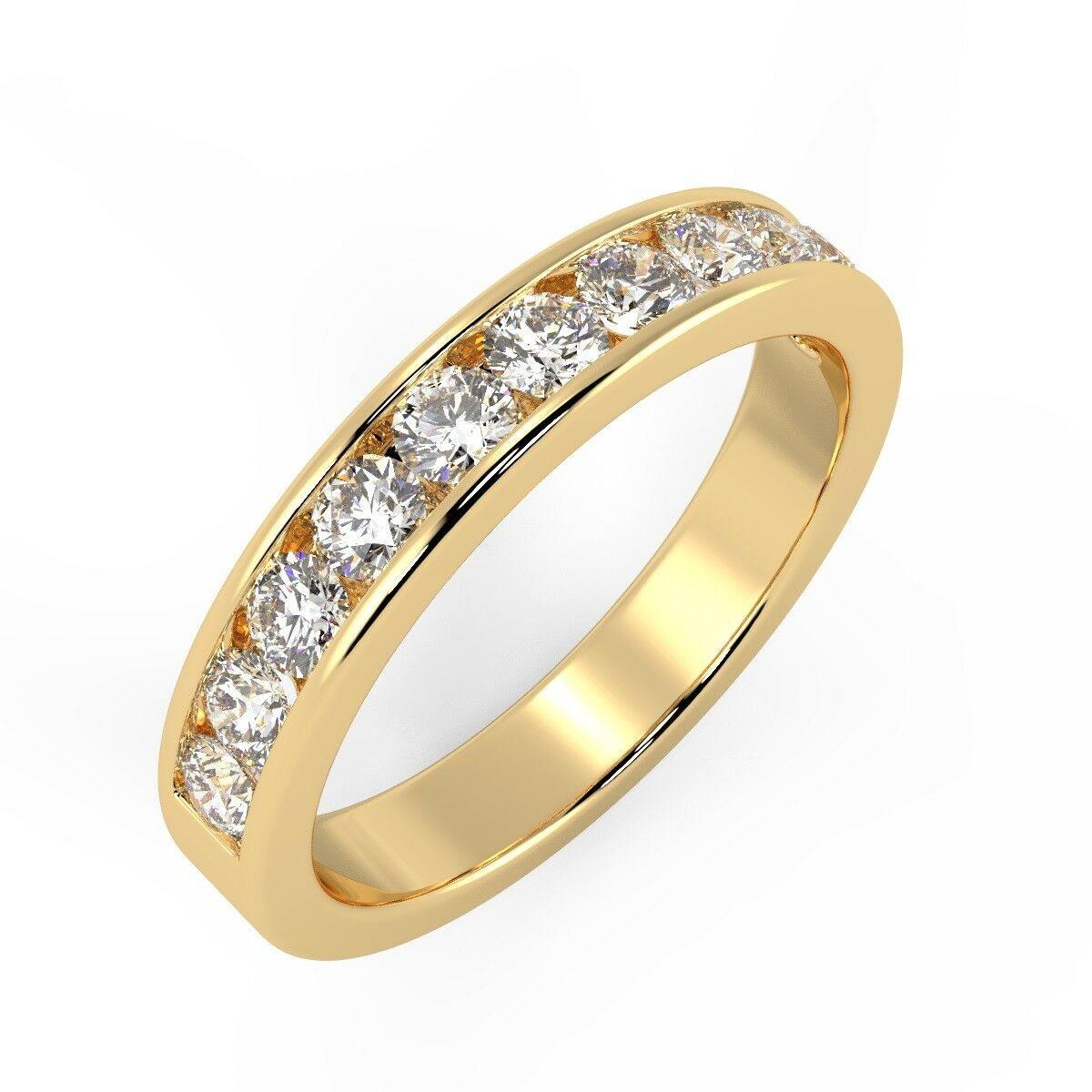 100% Natural Certified F VS 1ct Diamond Eternity Ring in 18k Yellow gold - 4mm