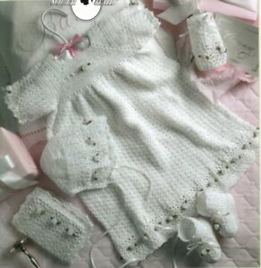 7ad4fbc30 Image is loading Christening-Gown -Ensemble-Crochet-Patterns-Bonnet-Booties-Kay-