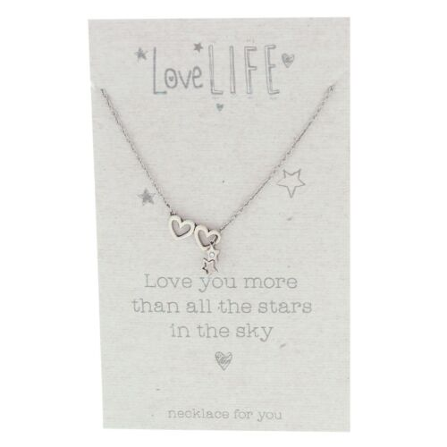 Love Life Hearts /& Stars Necklace Love You More Than All The Stars in the Sky