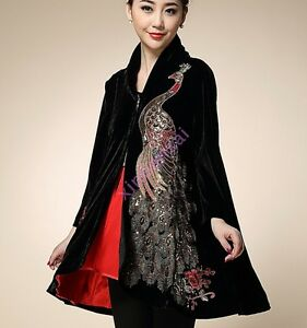 Trench Velvet Floral Parka Coat Sequin Long Luxury Jackets Women New Broderi w5qBCXT