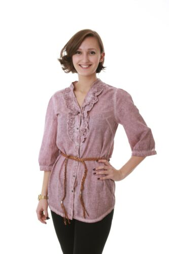 Haut Femmes à volants tunique avec aimez ceinture vieux rose NEUF 33568