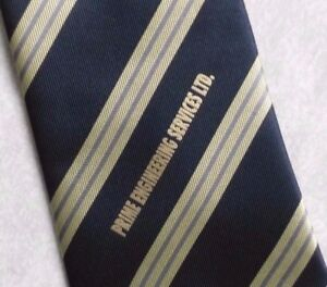 PRIME-ENGINEERING-SERVICES-TIE-COMPANY-NECKTIE-NAVY-GOLD-STRIPED-1990s-CORPORATE