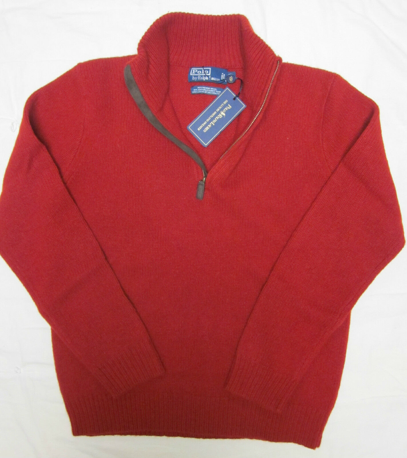 NWT polo Ralph Lauren 1/2 zip angora merino wool sweater suede decoration S