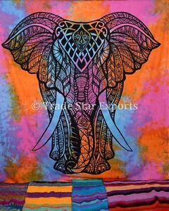 Indian-Tie-Dye-Tapestry-Good-Luck-Elephant-Wall-Hanging-Psychedelic-Bedspread