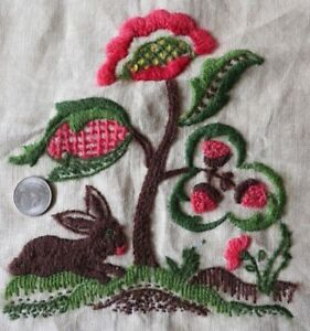 "Embroidery Cheap Sale American Vintage Wool Crewel Rabbit Hand Embroidered Design On Linen~12""x11"" Smoothing Circulation And Stopping Pains Linens & Textiles (pre-1930)"