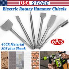 6pcs Sds Plus Rotary Hammer Drill Chisel Masonry Concrete Bit Tool Accessory Set