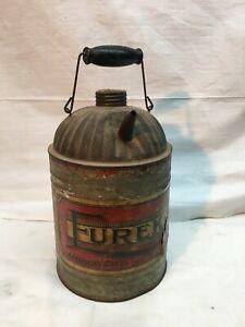 Antique Eureka Oil Can American Can Co. Paper Label Rat Rod Oil Garage 1 Gallon