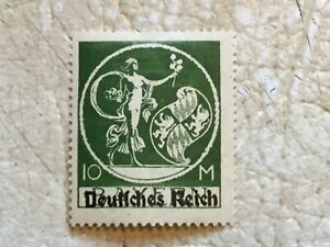 RARE-1920-Germany-10-Mark-Bavarian-stamp-with-overprint-type-UNC-Lot