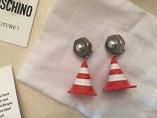 Moschino Couture X Jeremy Scott Clothed for Construction Traffic Cone Earrings