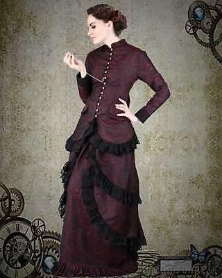 Victorian Steampunk Burgandy Brocade Dinner Dress s 3x l 4xl xl m 2xl