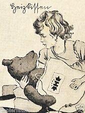 Heizkissen H Mädchen Teddybär Reklame von 1928 Teddy Heilbrun Berlin Nowawes Ad