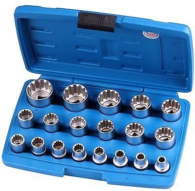Steckschlüsselsatz 19-tlg Vielzahn Stecknüsse Zoll Werkzeug Harley US-Cars Nüsse
