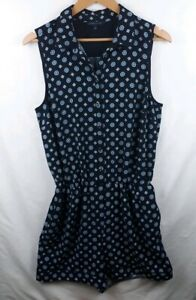 Tommy-Hilfiger-Womens-Size-12-Navy-Blue-Stretch-Romper-Shorts-Playsuit-Cuffed