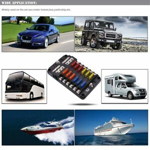 LED-12-Way-Fuse-Box-Block-Fuse-Holder-Car-Vehicle-Circuit-Auto-Blade-Universal