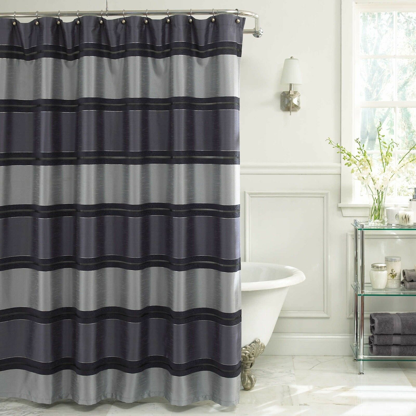 Vue By Ellery Jardin Stripe Shower Curtain 72 X 72 Color Indigo