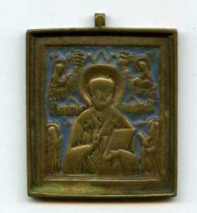 Antique-XVIII-XIXc-Russian-Hand-Made-BRONZE-Enamel-Small-Icon-Saint-Nicholas-RAR