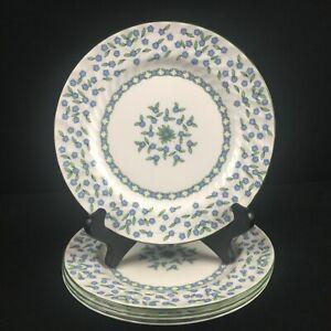 Set-of-4-VTG-Bread-Plates-Aynsley-Forget-Me-Not-Blue-Floral-Bone-England